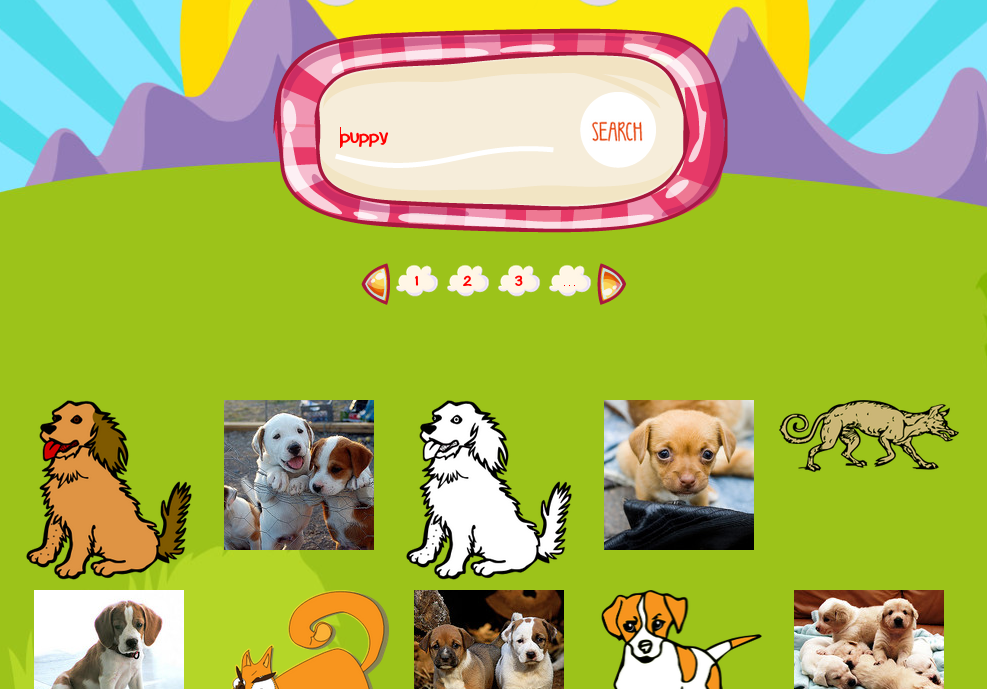 screen shot of image search for puppy